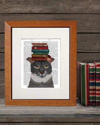 FabFunky Home Decor Grey Cat With Books On Head, Book Print