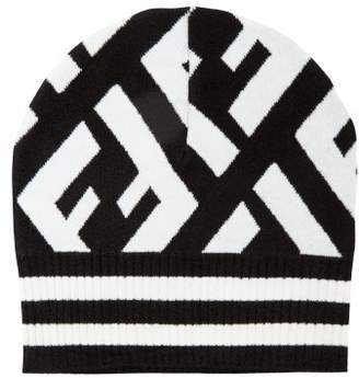 Fendi Macro Ff Logo Beanie Hat - Womens - Black