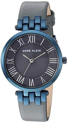 Anne Klein Women's AK/2619GYBL Blue and Grey Leather Strap Watch