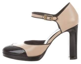 Via Spiga Round-Toe Ankle Strap Pumps