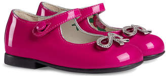 Gucci Kids Children's patent ballet flat with bow