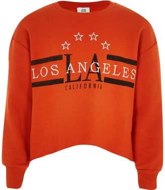 River Island Girls Orange 'Los Angeles' crop sweatshirt