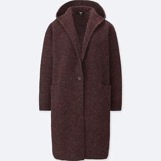 Uniqlo Women's Melange Wool Hooded Knitted Coat