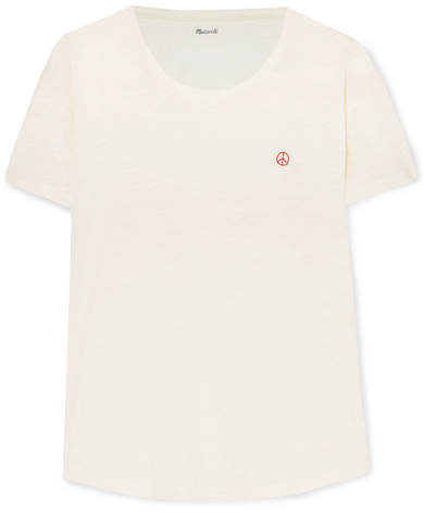 Madewell - Whisper Embroidered Slub Cotton-jersey T-shirt - Ivory