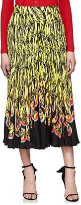 Prada Women's Pleated Banana- & Flame-Print Satin Skirt
