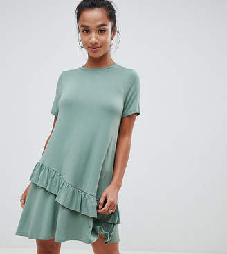 Asos Design Petite Mini T-Shirt Dress With Drop Ruffle Hem