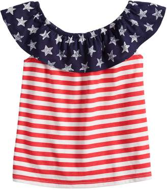 Toddler Girl Jumping Beans Ruffle Shoulder Americana Top