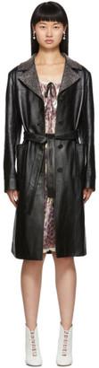 Miu Miu Black Leather Crystal Collar Trench Coat