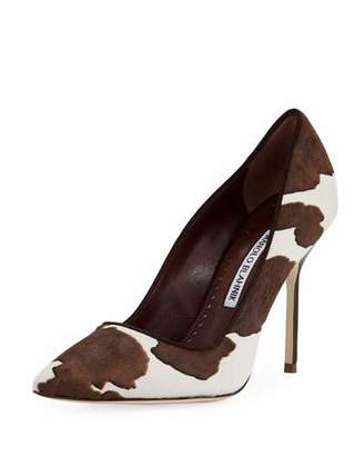 Manolo Blahnik BB Cow-Print Pointed Pumps