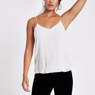 River Island White crepe pearl embellished cami top