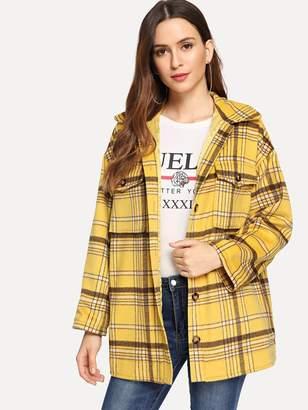 Shein Button Front Collar Neck Plaid Jacket
