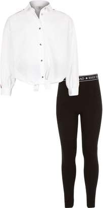 River Island Girls white shirt and leggings outfit