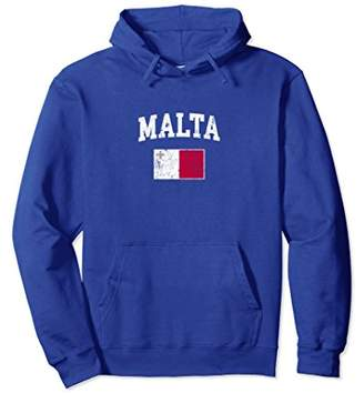 Vintage Malta Flag Pullover Hoodie College Shirt