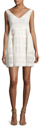 RED Valentino Sleeveless V-Neck Floral Macrame Dress, White $750 thestylecure.com