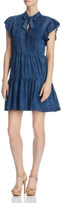Rebecca Taylor Pleated Chambray Tie-Neck Dress
