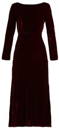 Saloni Tina Boat Neck Velvet Dress - Womens - Burgundy