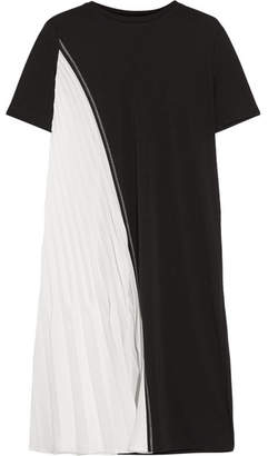 DKNY Two-tone Stretch-jersey And Plissé Satin Dress - Black