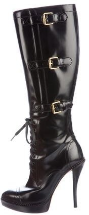 GucciGucci Lace-Up Knee-High Boots