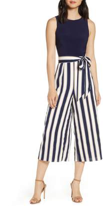 Vince Camuto Stripe Wide Leg Crop Jumpsuit