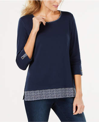 Karen Scott Printed-Trim 3/4-Sleeve T-Shirt