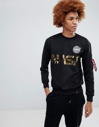 Alpha Industries Nasa Gold Foil Print Crew Neck Sweatshirt In Black