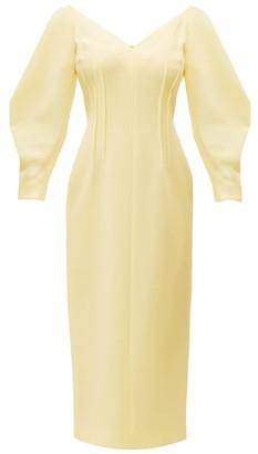 Emilia Wickstead Calla V Neck Wool Crepe Midi Dress - Womens - Yellow