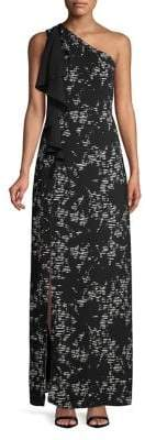 Halston H Ruffled Printed One-Shoulder Gown