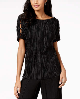 JM Collection Pleated Boat-Neck Top, Created for Macy's