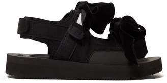 Suicoke Cecilie Bahnsen - X April Velvet Bow Suede Sandals - Womens - Black