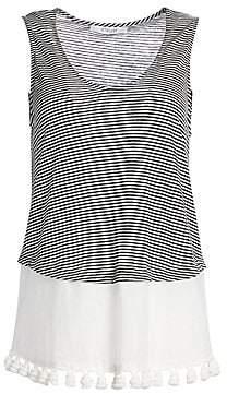 Derek Lam 10 Crosby Women's Stripe Linen& Cotton Pom-Pom Tank