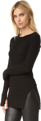 Helmut Lang Raw Edge Long Sleeve Tee $195 thestylecure.com