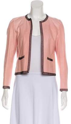 Chanel Lace-Trimmed Leather Jacket