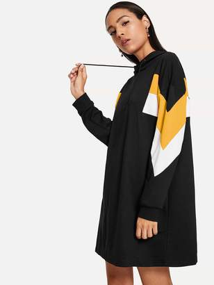 Shein Cut & Sew Hoodie Sweatshirt Dress
