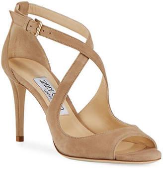 Jimmy Choo Emily Suede Crisscross 85mm Sandal