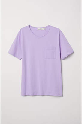 H&M T-shirt with Chest Pocket - Purple