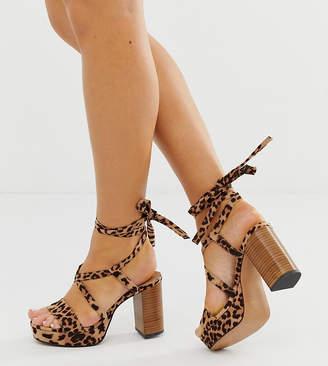 Asos Design DESIGN Wide Fit Walker platform heeled sandals