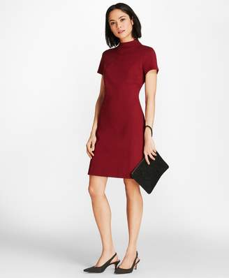 Brooks Brothers Mockneck Ponte Knit Shirt Dress