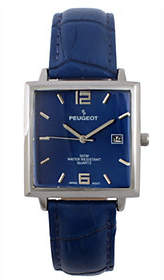 Nobrand NO BRAND Peugeot Men's Stainless Rectangular Leather Strap Watch