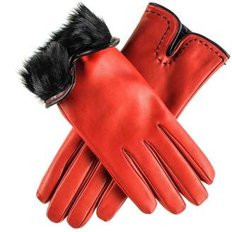 Black Red and Rabbit Fur Lined leather Gloves