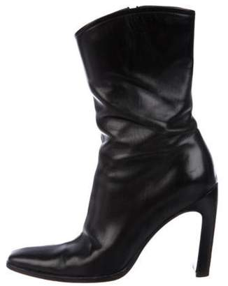 Gucci Square-Toe Leather Ankle Boots Black Square-Toe Leather Ankle Boots