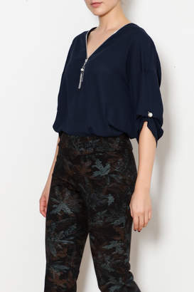 Bali Navy Blouse with Peal Details