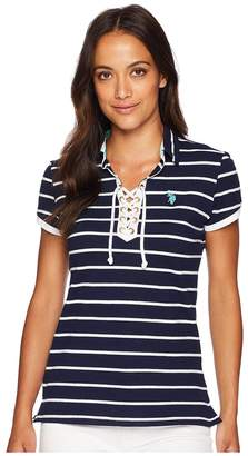 U.S. Polo Assn. Lace-Up Striped Pique Polo Shirt Women's Clothing