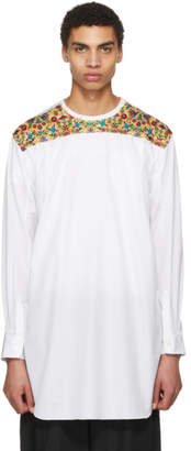 Comme des Garcons White Embroidered Back Yoke Long Shirt