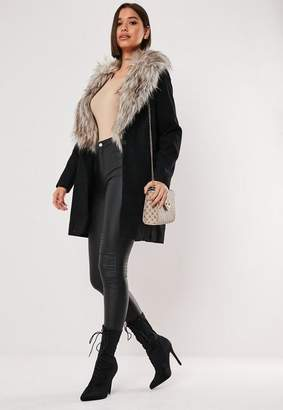 Missguided Black Faux Fur Collar Short Formal Coat
