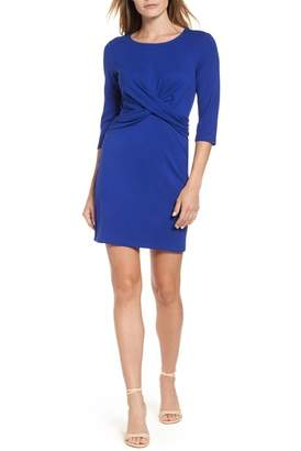 Gibson Knot Front Stretch Knit Body-Con Dress (Regular & Petite)