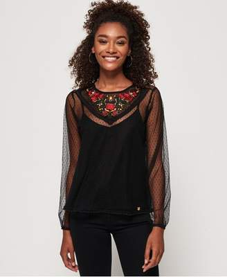 Superdry Lara Embroidered Lace Top