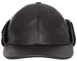 Burberry Shearling And Leather Baseball Cap
