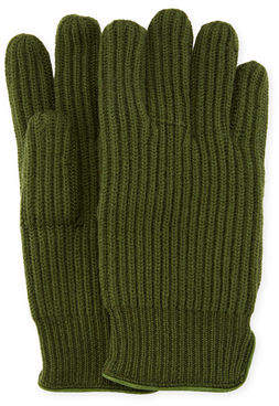 "Portolano 11"" Suede-Piped Knit Wool Gloves"