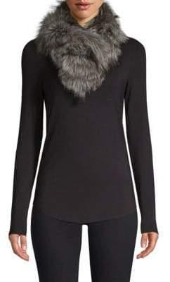 Adrienne Landau Silver Fox Fur Clip Scarf