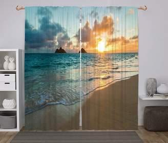 Sunbeam iPrint Polyester Window Drapes Kitchen Curtains,Hawaiian,Scenic Sunrise Over Ocean Rocks Sand Clouds Sunshine Tide Seashore,Yellow Turquoise,Living Room Bedroom Kitchen Cafe Window Drapes 2 Panel Set